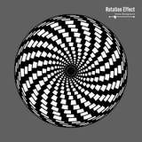 Ilusión óptica Arte del vector 3d Efecto dinámico de la rotación Ciclo de la vuelta Anillos de la piscina del remolino Fondo mági Foto de archivo