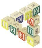 Ilusión óptica de 123 del ABC bloques del alfabeto Fotografía de archivo