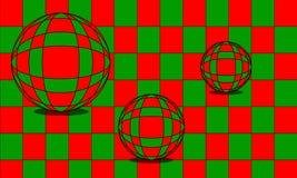 Ilusión óptica de los mármoles en el ejemplo rojo y verde Imágenes de archivo libres de regalías