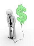 Ilusión de un dólar: hombre que bombea una muestra de dólar stock de ilustración
