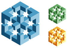 Ilusiones ópticas de objetos imposibles Foto de archivo libre de regalías
