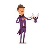 Ilusionista en Cola-capa púrpura con el conejito en el sombrero Imagen de archivo