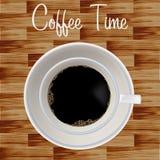 Ilustração à moda do copo de café do fundo de madeira Fotos de Stock Royalty Free
