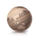 A ilustração Ásia e Austrália do globo 3D da madeira de carvalho traça Fotografia de Stock