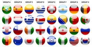 Ilustração-ícones do campeonato do mundo 2014 das bandeiras ajustados Fotos de Stock Royalty Free