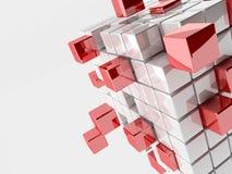 Ilustração 3d abstrata dos cubos Imagem de Stock