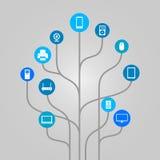 Ilustração abstrata da árvore do ícone - material informático, tecnologia e dispositivos eletrónicos Foto de Stock