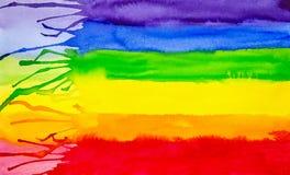 Ilustração abstrata da aquarela do fundo das cores do arco-íris Espectro de cor ilustração royalty free