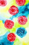 A ilustração abstrata da aquarela textured o fundo na forma de círculos espirais azuis e vermelhos ilustração stock