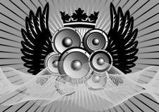 Ilustração abstrata da música com asas Imagens de Stock