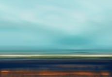 Ilustração abstrata da paisagem de Digitas com céu, praia e oceano em cores de Brown azul ilustração royalty free