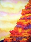 Ilustração abstrata da pintura da aquarela do penhasco do inferno do vulcão da montanha imagem de stock royalty free