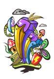 Ilustração abstrata de um pássaro com um bico grande e as plantas Imagens de Stock