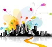 Ilustração abstrata do céu com arquitetura da cidade Foto de Stock Royalty Free