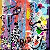 Ilustração abstrata do fundo, com cursos da pintura e splashe ilustração royalty free