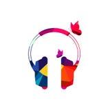Ilustração abstrata do fundo do polígono do fones de ouvido Fotografia de Stock Royalty Free