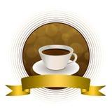 Ilustração abstrata do quadro do círculo da fita do ouro do marrom do café do fundo Imagens de Stock