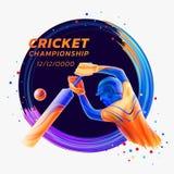 A ilustração abstrata do vetor do batedor que joga o críquete do líquido colorido espirra e os cursos da escova com os pontos col ilustração do vetor
