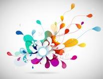 Ilustração abstrata do vetor com metade colorida das pétalas transparentes da flor Círculo também branco para seu próprio texto ilustração royalty free
