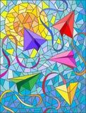 Ilustração abstrata dos planos de papel no fundo do céu Imagens de Stock Royalty Free