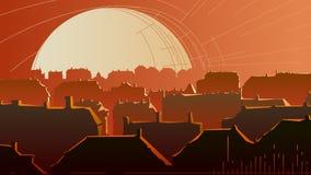 Ilustração abstrata horizontal da parte do centro da cidade no sol Imagem de Stock