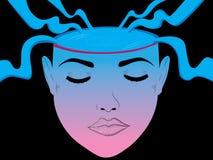 Ilustração abstrata imaginária da cabeça da menina ilustração do vetor