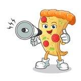 Ilustração acessível dos desenhos animados do vetor da mascote do altifalante da posse feliz da pizza ilustração do vetor