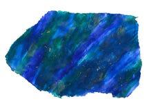 Ilustração acrílica, desenho abstrato de uma pedra em cores azuis e verdes ilustração royalty free