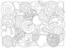 Ilustração adulta dos doces do pirulito da página da coloração Imagens de Stock