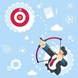 Ilustração aimming do vetor do negócio do conceito do alvo do homem de negócios liso do vetor para alcançar seu objetivo ilustração stock