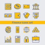 Ilustração ajustada ícones do vetor da finança Imagem de Stock Royalty Free