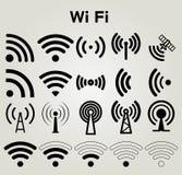 Ilustração ajustada ícones do vetor dos Wi Fi Imagem de Stock Royalty Free