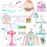 Ilustração ajustada com elementos da aquarela do parque de diversões Imagem de Stock