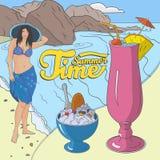 Ilustração ajustada do cartaz do verão Imagens de Stock Royalty Free