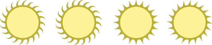 Ilustração ajustada do sol amarelo Imagens de Stock