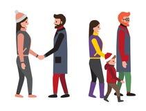 Ilustração ajustada do vetor da família e dos povos dos amigos ilustração stock