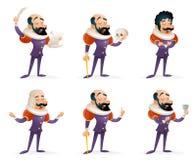 Ilustração ajustada do vetor do molde do projeto dos desenhos animados das ações dos caráteres de Theater Stage Man do ator ícone Fotos de Stock Royalty Free