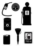 Ilustração ajustada do vetor dos ícones do combustível preto da silhueta Fotos de Stock Royalty Free