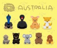 Ilustração ajustada do vetor dos desenhos animados de Austrália das bonecas animais Imagens de Stock Royalty Free