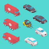 Ilustração ajustada isolada do conceito de projeto do transporte Imagens de Stock