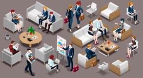 Ilustração ajustada isométrica do vetor do ícone 3D da sala de reunião dos povos Imagem de Stock Royalty Free