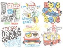 Ilustração ajustada projetos dos desenhos animados do vetor do t-shirt das crianças imagem de stock