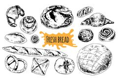 Ilustração ajustada tirada mão do vetor do pão Fotos de Stock Royalty Free