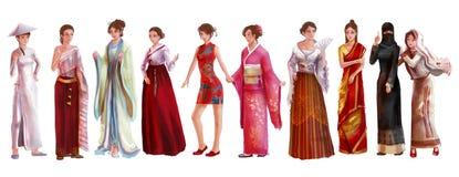 Ilustração alta dos desenhos animados do estilo da aquarela do detalhe da fêmea asiática Imagem de Stock