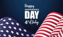 Ilustração americana do Dia da Independência com a bandeira de ondulação americana Foto de Stock Royalty Free