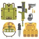 Ilustração americana do vetor do sinal da camuflagem da munição do lutador das forças militares da armadura das armas da arma ilustração stock
