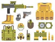 Ilustração americana do vetor do sinal da camuflagem da munição do lutador das forças militares da armadura das armas da arma ilustração royalty free