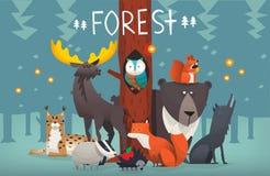 Ilustração amigável do vetor dos animais da floresta Fotos de Stock Royalty Free