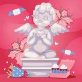 Ilustração angélico do vetor do fundo da escultura do cupido Estátua romântica do anjo com flores Valentim ou dia do casamento fotos de stock royalty free
