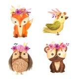 Ilustração animal das crianças da floresta da aquarela Foto de Stock
